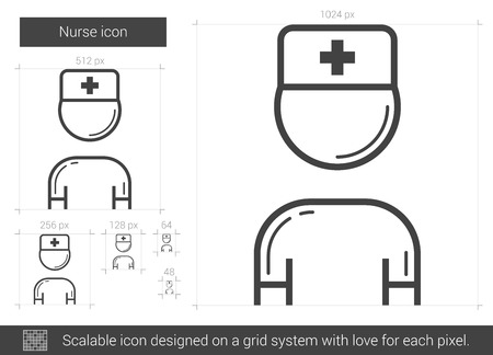 medico: Nurse vector line icon isolated on white background. Nurse line icon for infographic, website or app. Scalable icon designed on a grid system.