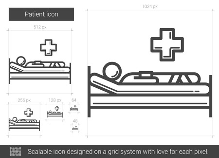 bedridden: Patient vector line icon isolated on white background. Patient line icon for infographic, website or app. Scalable icon designed on a grid system.