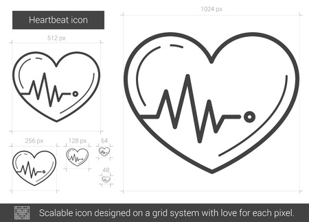 heartbeat line: Heartbeat vector line icon isolated on white background. Heartbeat line icon for infographic, website or app. Scalable icon designed on a grid system.