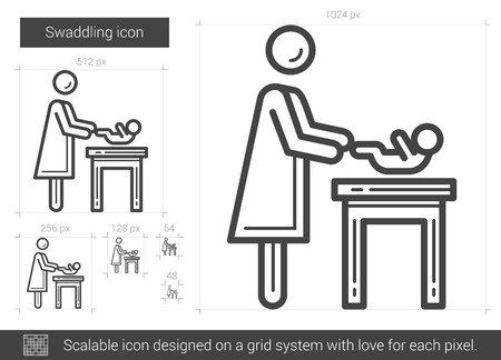 swaddling: Swaddling vector line icon isolated on white background. Swaddling line icon for infographic, website or app. Scalable icon designed on a grid system.