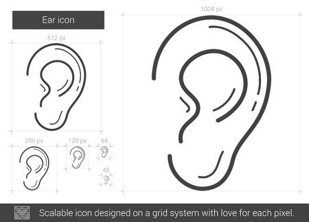 Oído icono de la línea vector aislado en el fondo blanco. icono de la línea oído para la infografía, sitio web o aplicación. icono escalable diseñada en un sistema de red.