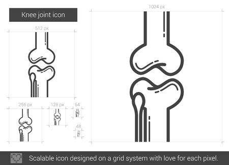 patella: Knee joint vector line icon isolated on white background. Knee joint line icon for infographic, website or app. Scalable icon designed on a grid system. Illustration