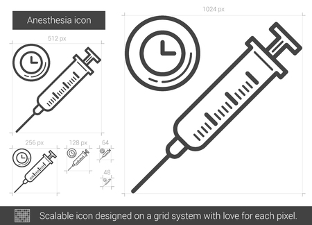 anaesthesia: Anesthesia vector line icon isolated on white background. Anesthesia line icon for infographic, website or app. Scalable icon designed on a grid system.