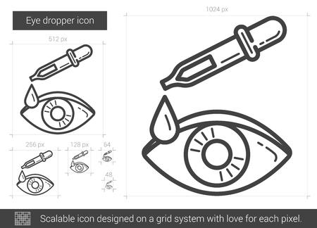 Druppelaar oog vector lijn pictogram geïsoleerd op een witte achtergrond. Oog druppelaar lijn pictogram voor infographic, website of app. Schaalbaar pictogram ontworpen op een rastersysteem. Stock Illustratie