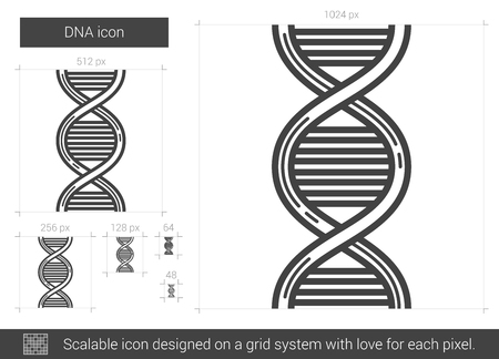 scalable: DNA vector line icon isolated on white background. DNA line icon for infographic, website or app. Scalable icon designed on a grid system.