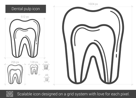 pulp: Dental pulp vector line icon isolated on white background. Dental pulp line icon for infographic, website or app. Scalable icon designed on a grid system.