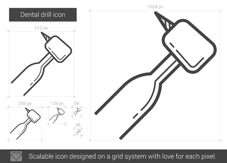 Dental drill vector line icon isolated on white background. Dental drill line icon for infographic, website or app. Scalable icon designed on a grid system. Çizim