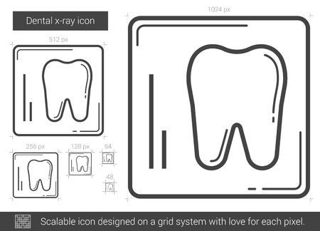 cleanliness: Dental x-ray vector line icon isolated on white background. Dental x-ray line icon for infographic, website or app. Scalable icon designed on a grid system.