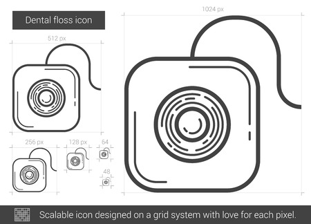 pack string: Dental floss vector line icon isolated on white background. Dental floss line icon for infographic, website or app. Scalable icon designed on a grid system.