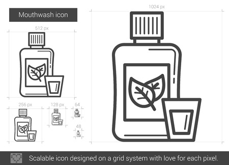 enjuague bucal: Mouthwash vector line icon isolated on white background. Mouthwash line icon for infographic, website or app. Scalable icon designed on a grid system.