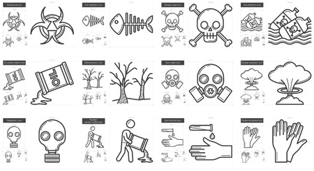 pandemia: Ecology biohazard vector line icon set isolated on white background. Ecology biohazard line icon set for infographic, website or app. Scalable icon designed on a grid system.