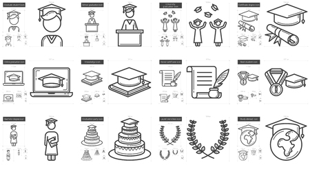 Education vector line icon set isolated on white background. Education line icon set for infographic, website or app. Scalable icon designed on a grid system. Stock Vector - 64980017