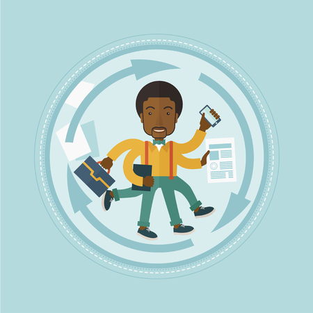 coping: African-american businessman with many legs and hands coping with multitasking. Multitasking business person. Multitasking concept. Vector flat design illustration in the circle isolated on background