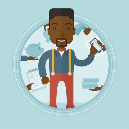 An african-american hard working businessman. Man surrounded by many hands that give him a lot of work. Concept of hard working. Vector flat design illustration in the circle isolated on background.