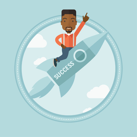 forefinger: African-american businessman flying on business start up rocket and pointing forefinger up. Successful business start up concept. Vector flat design illustration in the circle isolated on background.