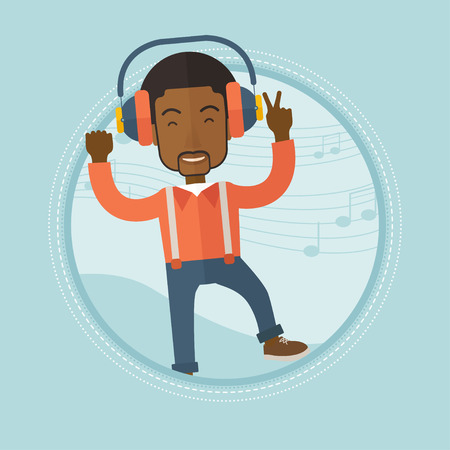 sing: An african-american man dancing while listening to music. Man listening to music in headphones on a background with music notes. Vector flat design illustration in the circle isolated on background.