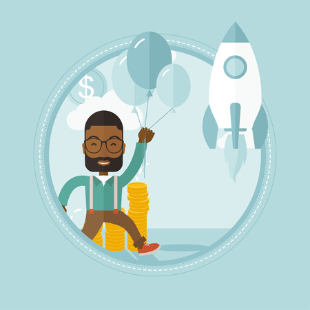 came: An african businessman flying near business start up rocket. Business start up concept. Man came up with a business startup. Vector flat design illustration in the circle isolated on background.