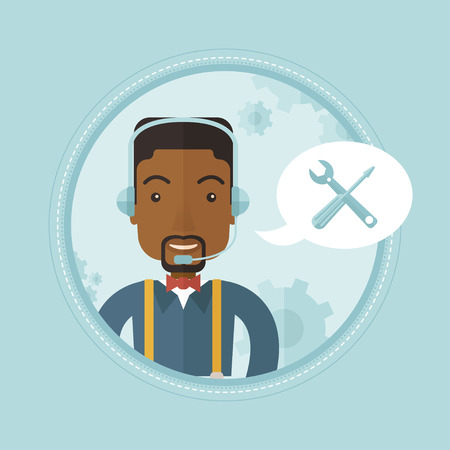 dispatcher: African-american professional operator of technical support. Operator of technical support at work. Concept of technical support. Vector flat design illustration in the circle isolated on background.