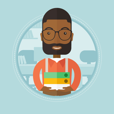 pile of documents: African-american office worker holding pile of folders in office. Office worker with documents. Office worker standing in office. Vector flat design illustration in the circle isolated on background.