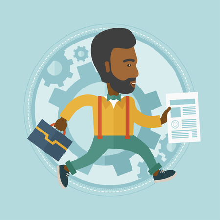 hurry: An african-american stressed businessman running in a hurry. Concept of stress in business. Stressed office worker running. Vector flat design illustration in the circle isolated on background.