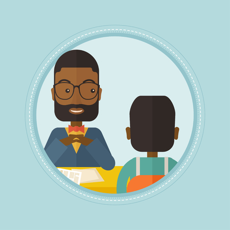 the applicant: An african-american human resource manager talking with job applicant. Job applicant during job interview for the position. Vector flat design illustration in the circle isolated on red background.