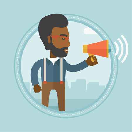 spokesman: An african-american businessman making an announcement. Businessman announcing through megaphone. Business announcement concept. Vector flat design illustration in the circle isolated on background. Illustration