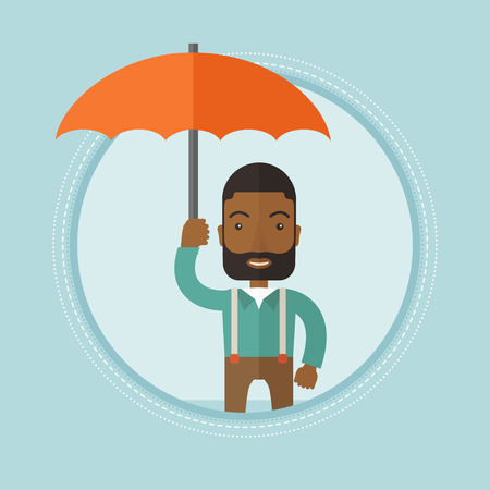 African-american insurance agent. Businessman standing safely under umbrella. Business insurance and business protection concept. Vector flat design illustration in the circle isolated on background. Illustration