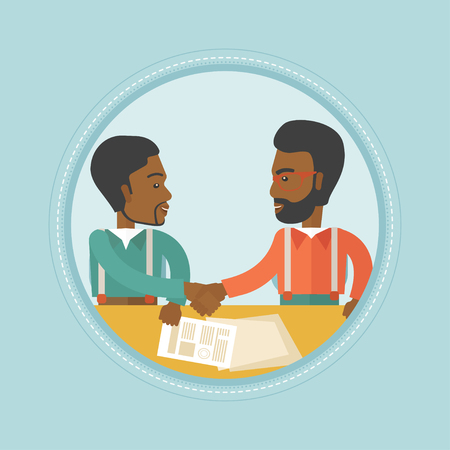 signing: Two african-american businessmen signing a contract and shaking hands. Confirmation of transaction by signing of business contract. Vector flat design illustration in the circle isolated on background