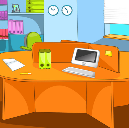 interior decoration: Hand drawn cartoon of business office place. Colourful cartoon of office workplace. Cartoon background of office interior. Interior of office room with desktop. Background of modern office room. Stock Photo