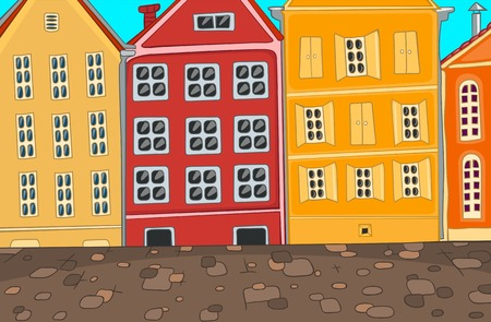 residential district: Hand drawn cartoon of urban architecture. Colourful cartoon of city background. Cartoon background of street in the city. Cartoon of urban landscape. Cartoon of residential district with townhouses.