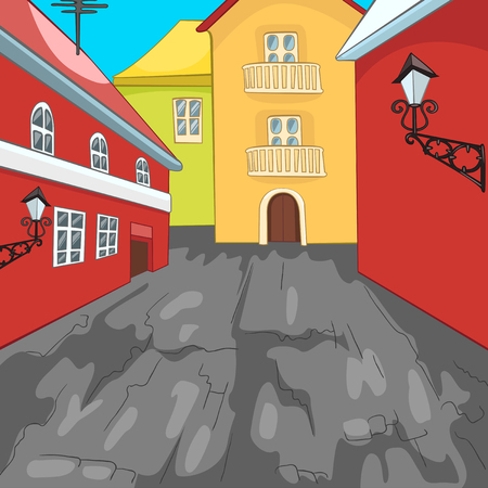 urban district: Hand drawn cartoon of urban architecture. Colourful cartoon of city background. Cartoon background of street in the city. Cartoon of urban landscape. Cartoon of residential district with townhouses.