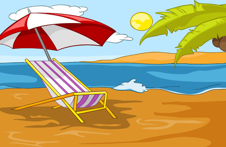 Hand drawn cartoon of summer landscape. Background of beach resort. Colourful cartoon of summer background. Cartoon background of tropical beach with palm tree, sea, chaise lounge, beach umbrella.