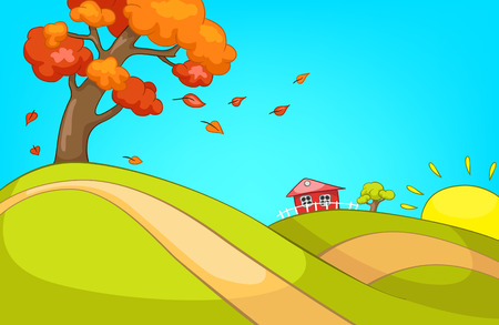 Hand drawn cartoon of autumn landscape. Colourful cartoon of autumn background. Cartoon of hilly countryside in autumn. Cartoon background of autumn landscape with tree with deciduous leaves. Stock Photo