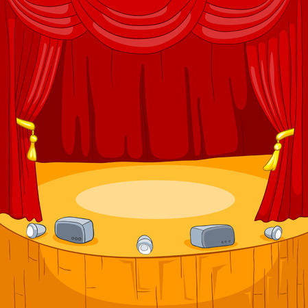 theatrical performance: Hand drawn cartoon of theater stage. Cartoon background of empty concert stage. Colourful cartoon of background of theater stage with curtains and spotlights. Cartoon background of theatrical scene. Stock Photo