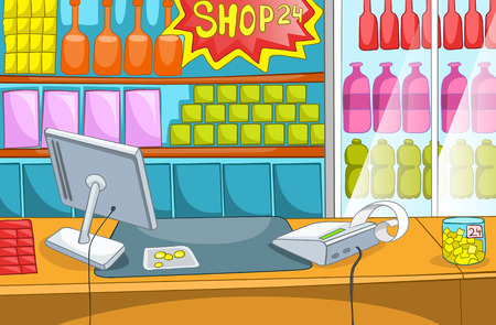 Hand drawn cartoon of supermarket interior. Colourful cartoon of background of grocery store with product shelves. Cartoon background of supermarket with cash register. Cartoon of counter at store.