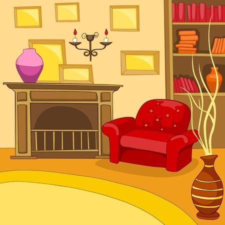 living room design: Hand drawn cartoon of living room. Colourful cartoon background of retro living room. Background of living room with armchair and fireplace. Cartoon of home interior. Cartoon of living room interior.