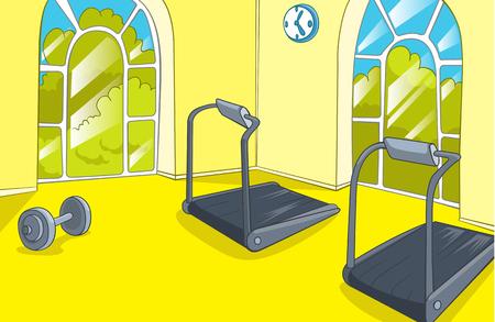 gym room: Hand drawn cartoon of gym room. Cartoon background of gym room. Cartoon of fitness center interior. Background of fitness gym room interior with treadmills. Cartoon of modern gym with equipment.