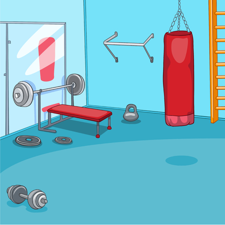 recreation rooms: Hand drawn cartoon of gym room. Cartoon background of gym room. Cartoon of fitness center interior. Background of fitness gym room interior with punching bag. Cartoon of modern gym with equipment. Stock Photo