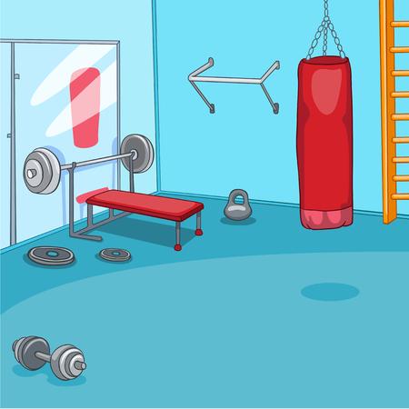 Hand drawn cartoon of gym room. Cartoon background of gym room. Cartoon of fitness center interior. Background of fitness gym room interior with punching bag. Cartoon of modern gym with equipment. Stock Photo