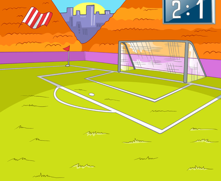 soccer field: Hand drawn cartoon of sport infrastructure. Cartoon background of stadium. Background of football stadium. Cartoon of soccer stadium. Cartoon of soccer field with gate. Background of football arena. Stock Photo