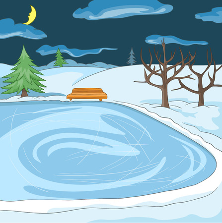 Hand drawn cartoon of winter landscape. Cartoon of winter background. Background of winter park. Cartoon of outdoor ice skating rink. Background of small frozen pond in the winter forest at night.