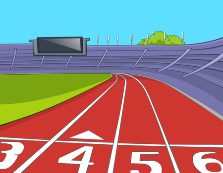 Hand drawn cartoon of of sport stadium. Colourful cartoon of sport stadium with running tracks. Cartoon of red athletics track lanes with the numbering at the stadium. Background of athletics stadium.