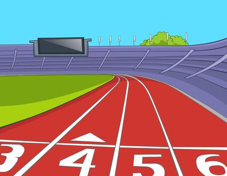 Dibujado a mano de dibujos animados del estadio del deporte. dibujo animado colorido del estadio deportivo con pistas de atletismo. Dibujos animados del atletismo rojo Carriles de la pista con la numeración en el estadio. Antecedentes de estadio de atletismo.