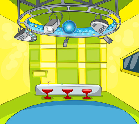 multimedia background: Hand drawn cartoon of television studio interior. Colourful cartoon of modern tv news studio with spotlights, table and chairs. Background of empty television studio ready for work. Stock Photo