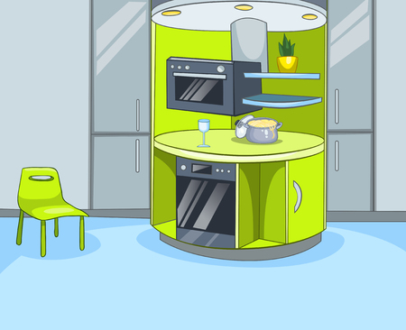 interior decoration: Hand drawn cartoon of contemporary kitchen interior. Colourful cartoon of kitchen background. Cartoon of modern kitchen interior. Cartoon of kitchen with furniture and kitchen appliances.