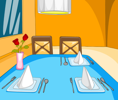lifestyle dining: Hand drawn cartoon of restaurant interior. Colourful cartoon of restaurant background. Cartoon background of restaurant interior with decorated table.