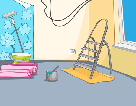 home renovation: Hand drawn cartoon of construction site. Colourful background of apartment renovation. Cartoon of repairs in the apartment. Background of unfinished apartment interior. Background of home renovation.