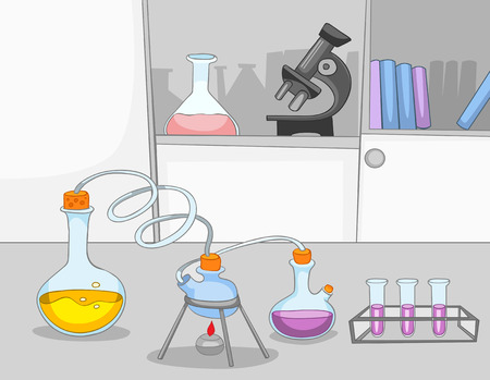 place of research: Hand drawn cartoon of chemical laboratory interior. Colourful cartoon of chemical laboratory workplace with test tubes and flasks. Background of working place of scientist in research laboratory. Stock Photo
