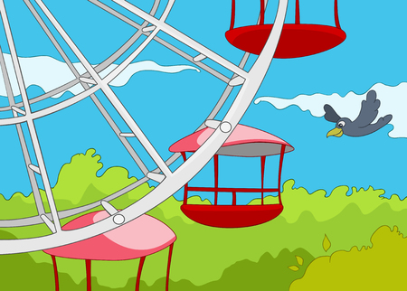 wheel spin: Hand drawn cartoon of amusement park. Colourful cartoon of amusement park. Cartoon background of amusement park at sunny summer day. Cartoon of ferris wheel on the background of sky in amusement park.