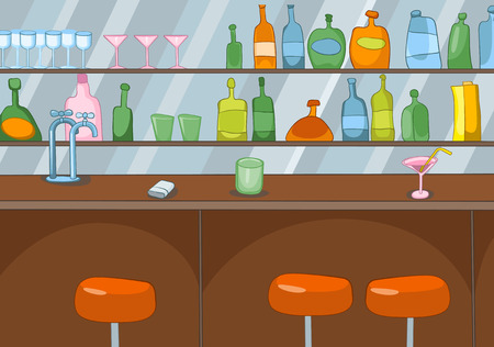 counter top: Hand drawn cartoon of pub interior. Colourful cartoon of bar background. Background of classic bar counter. Cartoon of empty bar in a nightclub. Background of table top and shelves with bottles. Stock Photo
